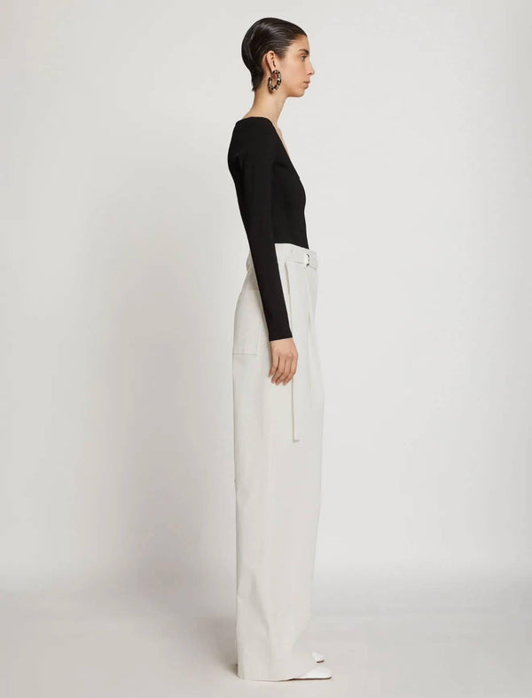 Cotton Twill Belted Pants In Off White