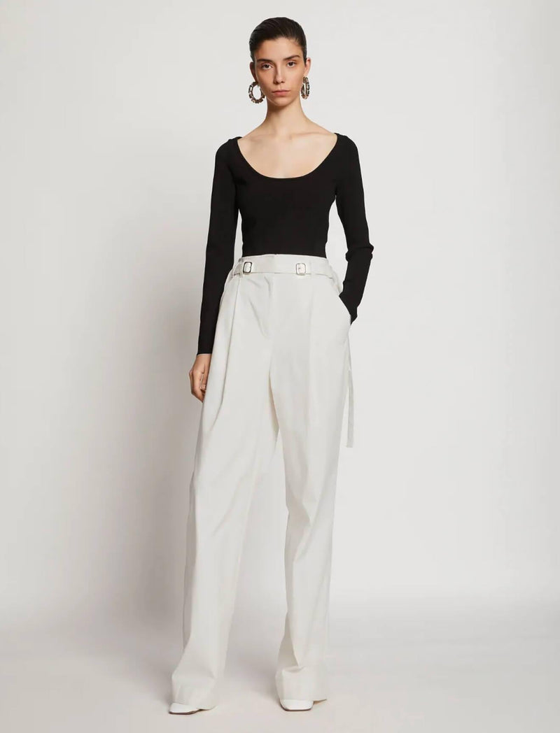 Cotton Twill Wide-Leg Pants In Off White - CLOSET Singapore