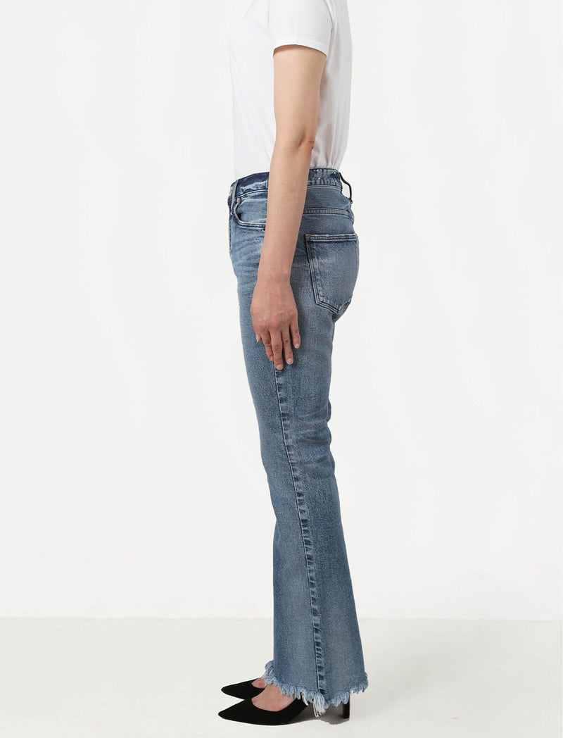 The Jessica Highrise Flare Jeans in Seine Destroy