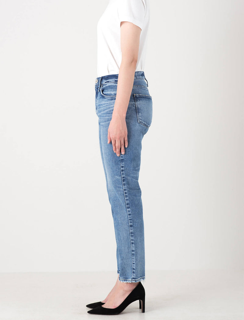 The Lady Midrise Slim Tapered Jeans in Damaged Seine