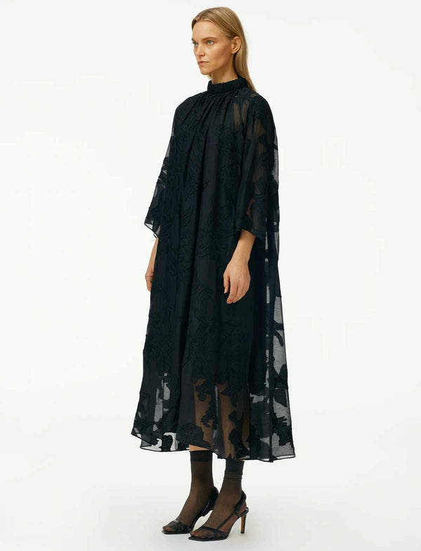 Lana Fil Coupé Shirred Neck Maxi Dress in Black