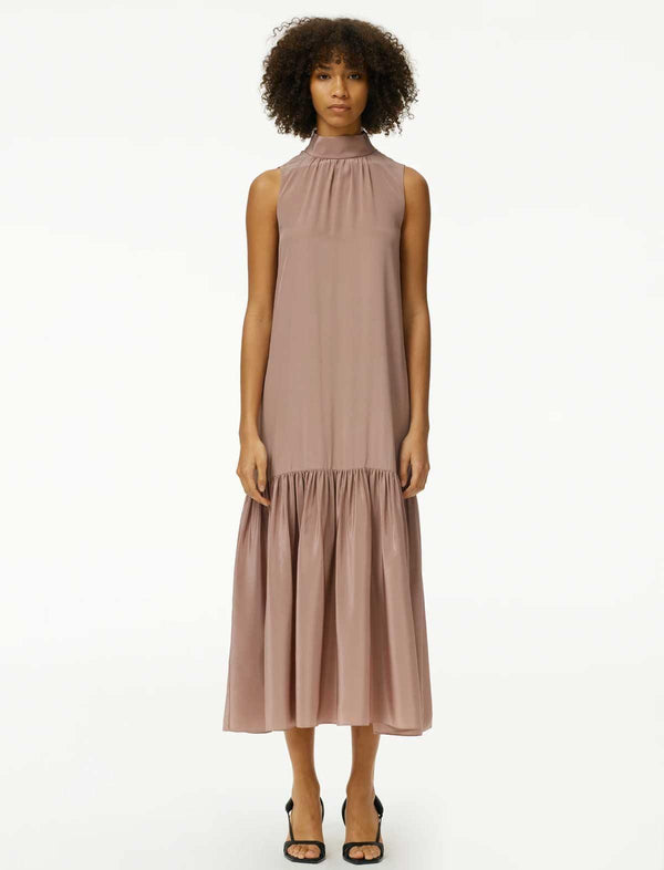 Eco Silk Drop-Waist Dress In Rose Tan - CLOSET Singapore