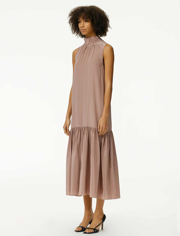 Eco Silk Drop-Waist Dress In Rose Tan