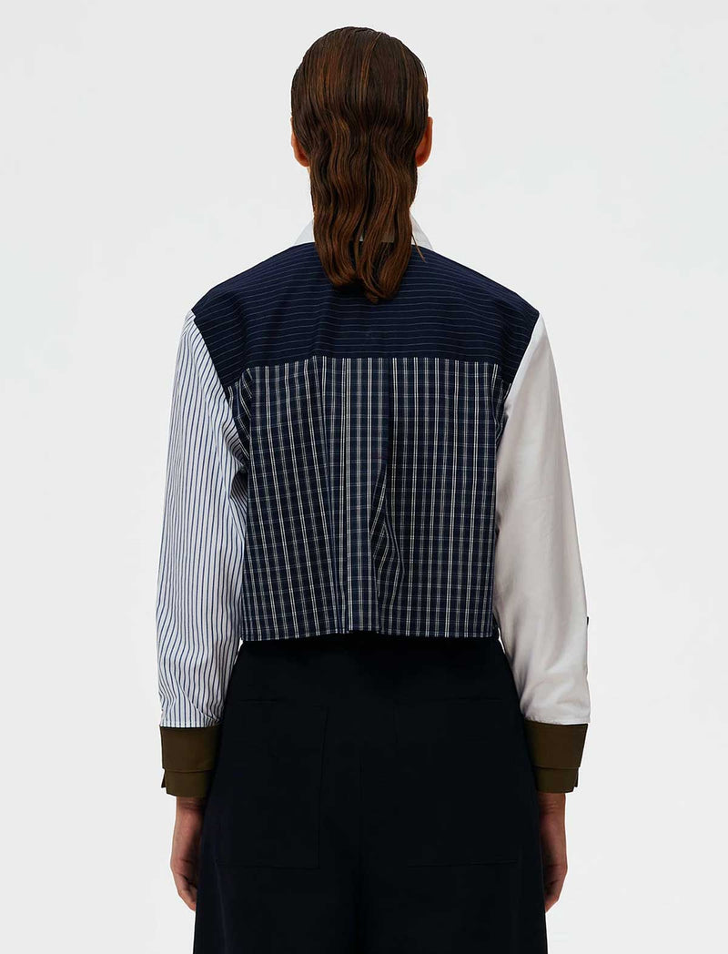 Patchwork Shirting Cropped Shirt in Multi