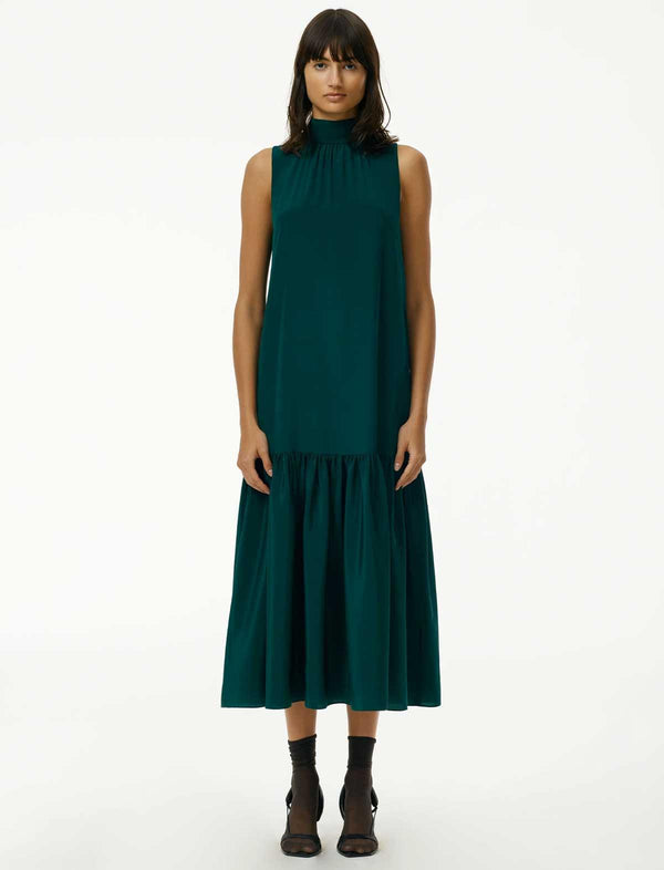 Eco Silk Drop-Waist Dress In Bright Pine - CLOSET Singapore