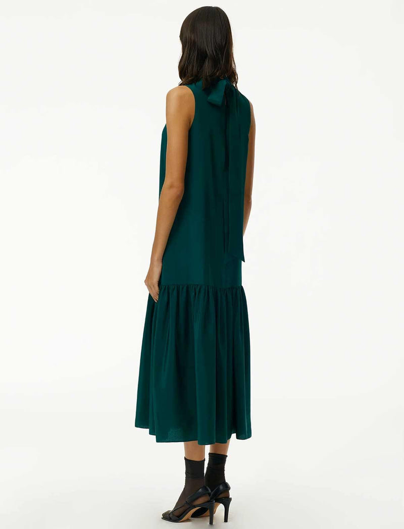Eco Silk Drop-Waist Dress In Bright Pine