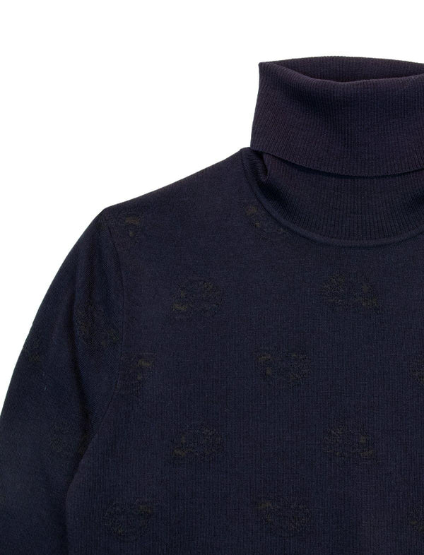 Turtleneck Wool-Blend Sweater In Navy