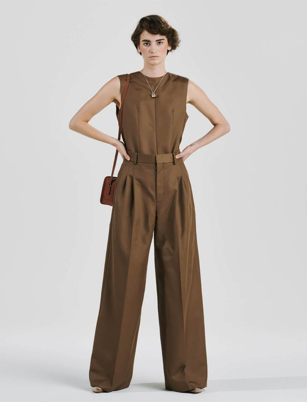 Wool Blend Twill Jumpsuit In Amber Brown