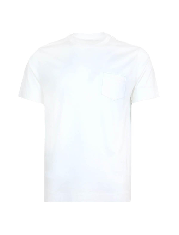 Cotton T-Shirt with Front Pocket in White