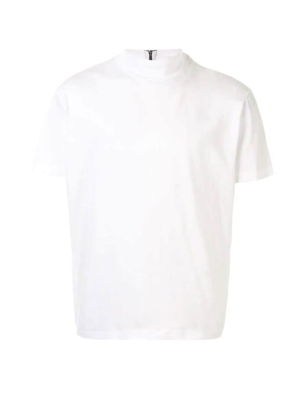 Mock Neck Cotton Jersey T-Shirt in White