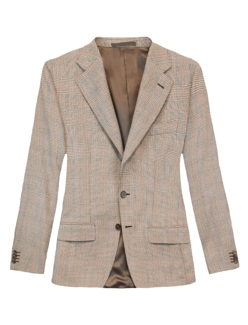 Single-breasted Glen Checked Wool Blazer in Brown Amber