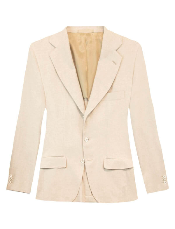 Single-Breasted Premium Cotton Blazer in Off White