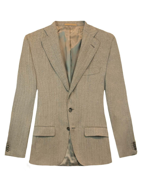 Single-breasted Herringbone Wool Blazer in Light Brown
