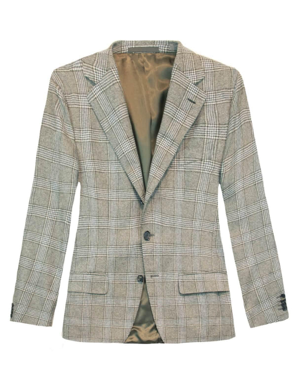 Single-breasted Glen Checked Wool Blazer in Brown Grey