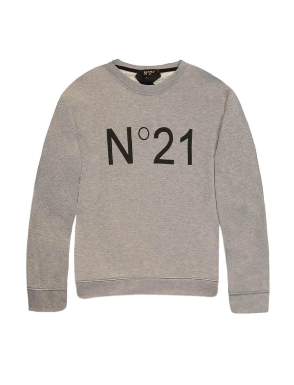Logo Cotton Sweater In Grey