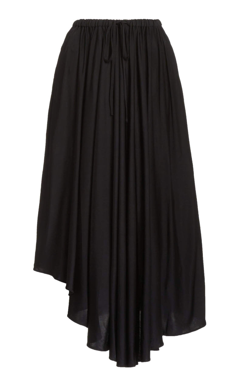 Satin Jersey Pleated Skirt in Black