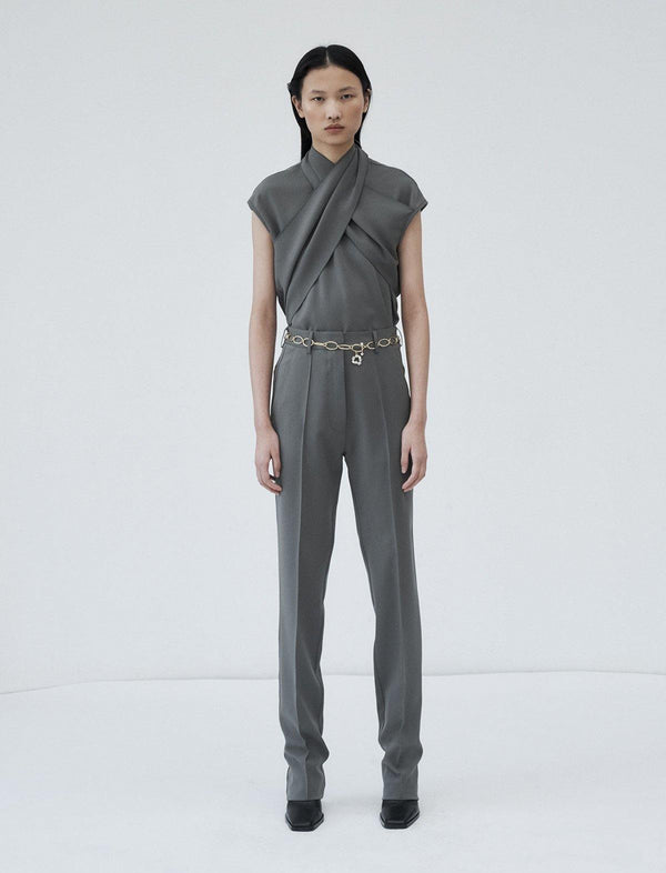 Ensor Blouse In Pewter Grey - CLOSET Singapore