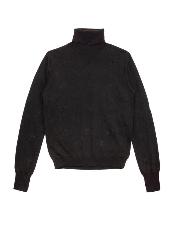 Turtleneck Wool-Blend Sweater In Black