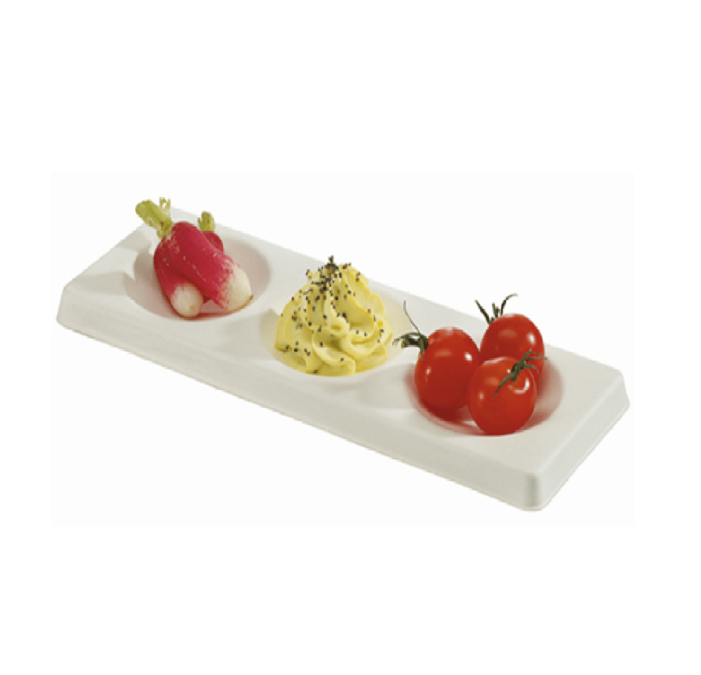 Trio Plate Mini Dish Sugar Cane Pulp 200pcs - Gourmet de Paris : French Food