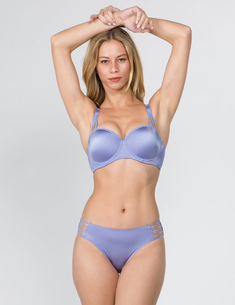 claire- shimmery half-cup push-up bra with a thin-strapped design on both bra straps