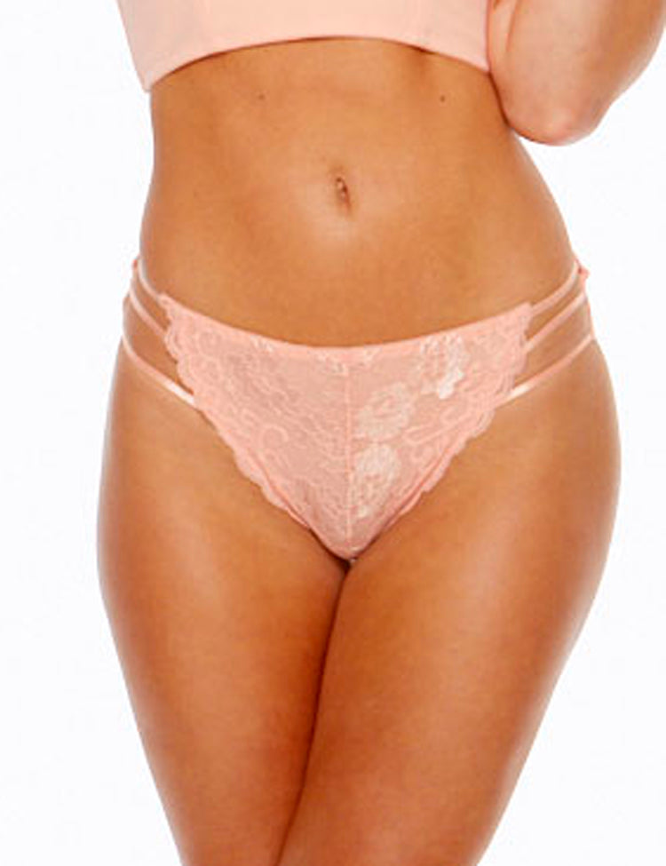 tori bikini- solid back with floral lace front featuring three thin stretchy straps on hips