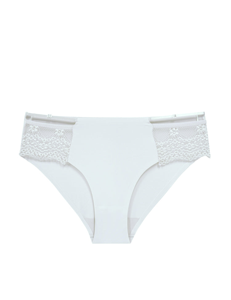 emma bikini- solid panty featuring a thin strap atop scalloped lace on both sides