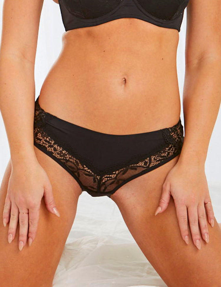 jayda bikini- hip-hugging panty with v-shaped mesh and lace panels along the sides