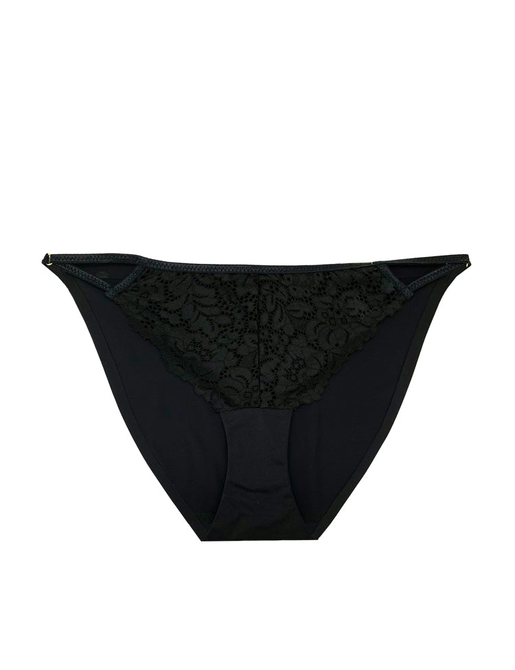harper bikini- solid back, lace front bikini with small triangular cut-outs on the hips