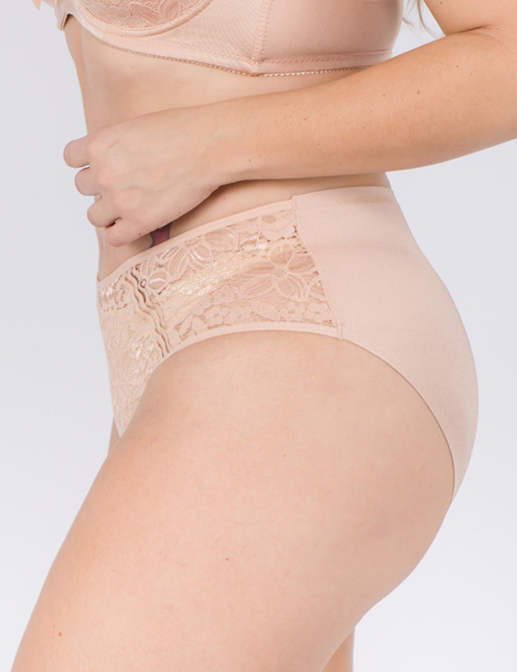 amy panty- solid back, floral lace front, featuring three thin diagonal straps in the front