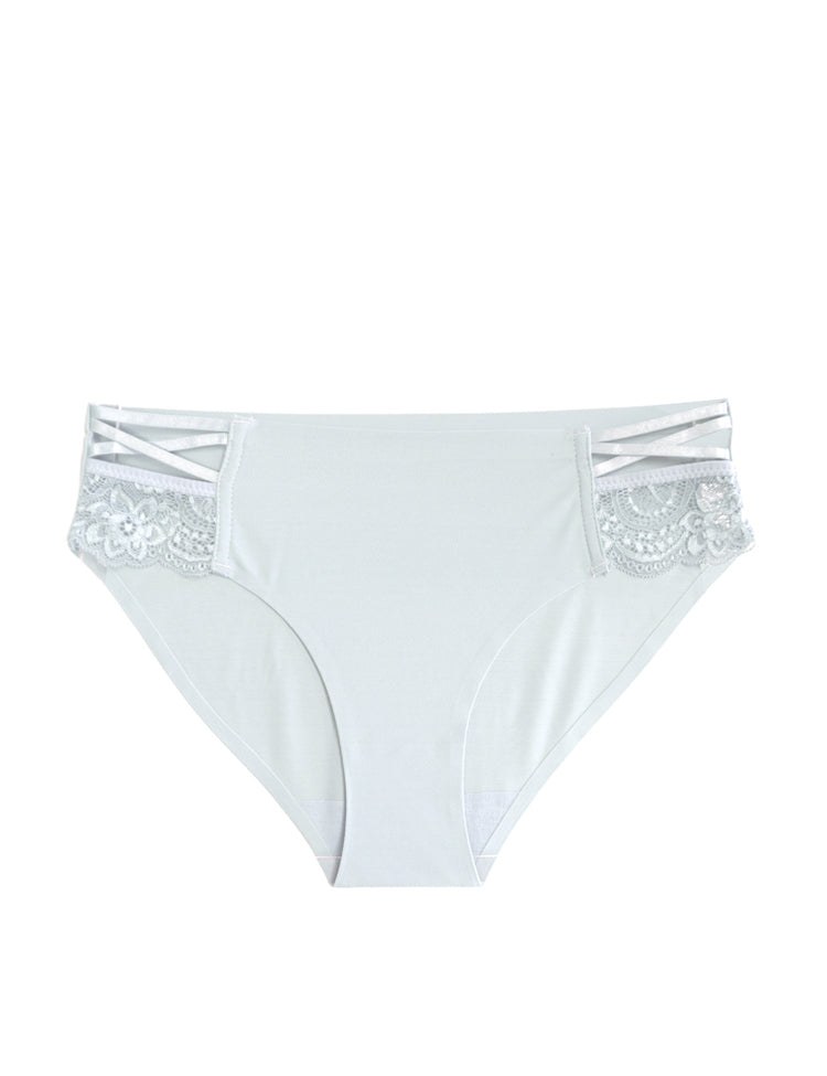 tish- solid panty featuring floral lace panels and thin criss-cross designs on the hips