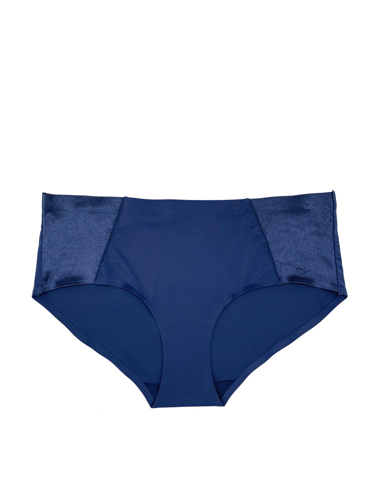 everyday seamless bikini panty featuring two wide satin panels on the sides  material and care:  hand wash recommended use a mesh bag when opting for machine wash imported nylon/spandex