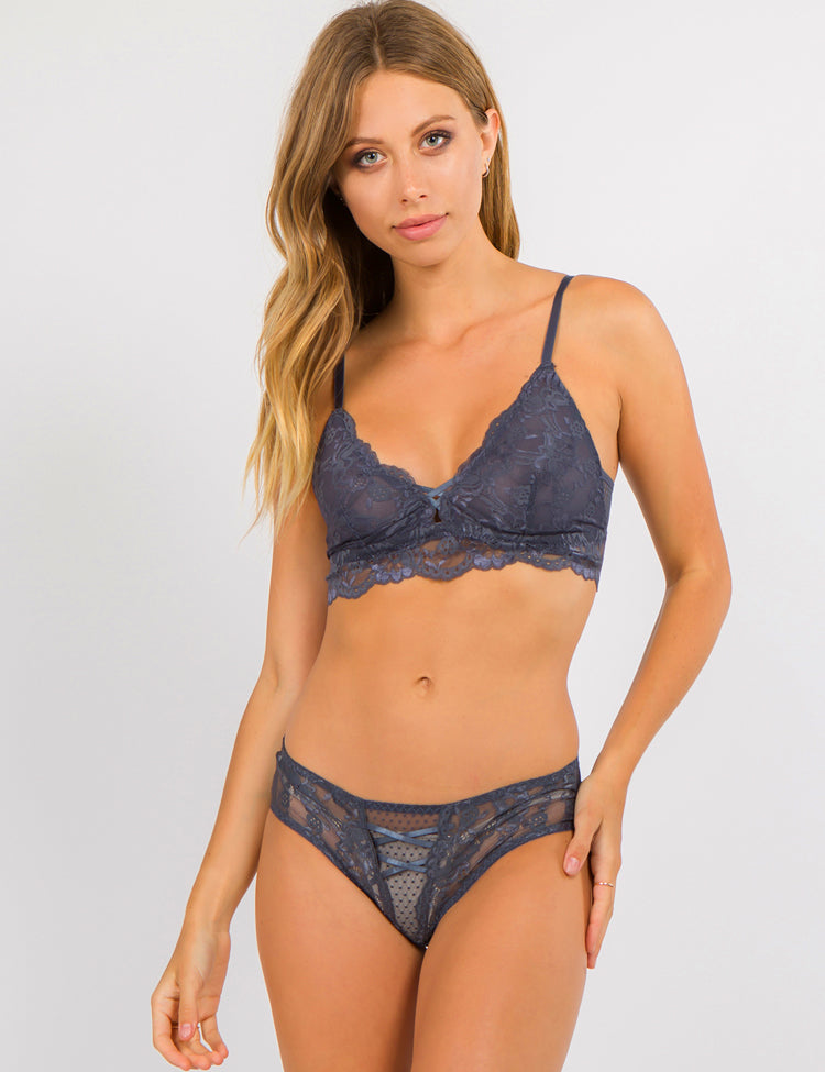emile- unlined bralette featuring adjustable straps and a thin elastic band