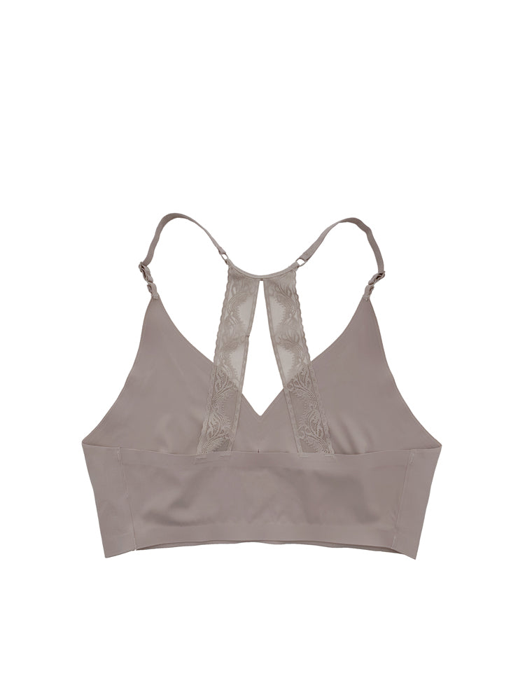 kendall- v-neck, full-coverage, pull-over seamless bralette, featuring two semi-parallel lace racerback panels in the back // straps and inserts:  seamless and wireless removable single pad