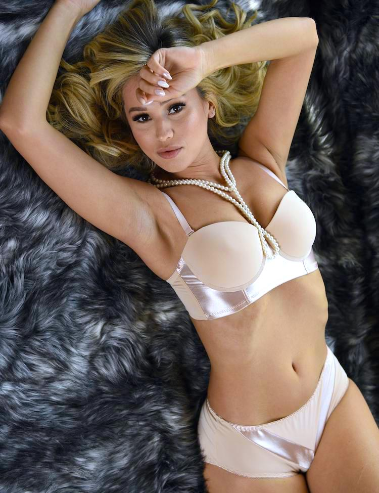 abby- half-cup, the option of strapless bra, featuring satin bands and solid cups