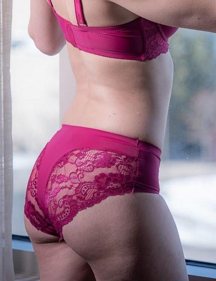 cynthia panty- plus-sized bikini featuring floral lace back.