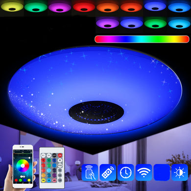 E27 45W RGB Smart LED Light Bulb Music bluetooth APP Speaker Pendant Ceiling Lamp + Remote Control AC85-265V
