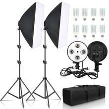 Load image into Gallery viewer, Photo Studio 8 LED 20W Softbox Kit Photographic Lighting Kit Camera & Photo Accessories 2 Light Stand 2 Softbox for Camera Photo