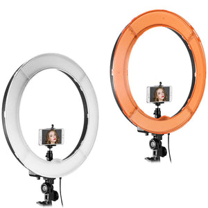 "18"" Selfie Ring Light with Tripod Stand & Cell Phone Holder for Live Stream Makeup Mini Led Camera Ringlight"