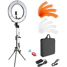 "Load image into Gallery viewer, 18"" Selfie Ring Light with Tripod Stand & Cell Phone Holder for Live Stream Makeup Mini Led Camera Ringlight"