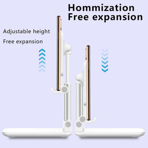 Luxury Telescopic Folding Smart Phone Tablet Stand Adjustable Holder For iPhone Samsung Huawei Xiaomi Oneplus Desktop Support
