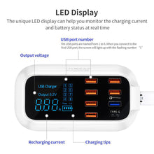 Load image into Gallery viewer, Quick Charge 3.0 Smart USB Type C Charger Station Led Display Fast Charging Phone Tablet USB Charger For iPhone Samsung Adapter