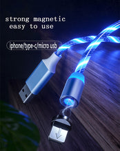 Load image into Gallery viewer, Glow LED Lighting Fast Charging Magnetic USB Type C Cable Magnetic Cable USB Micro Charger Cable Wire for iPhone Huawei Samsung