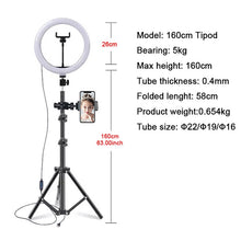 Load image into Gallery viewer, 10 inch Cell Phone Led Lamp Camera Selfie Ringlight Holder led ring light with stand
