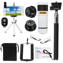 Load image into Gallery viewer, All in1 Phone Camera Lens 12X Telescope Selfie Stick Tripod bluetooth Remote Kit