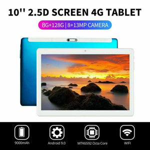 "10.1"" WIFI/4G-LTE 8G+128G Tablet Android 9.0 HD PC bluetooth SIM GPS Dual Camera"