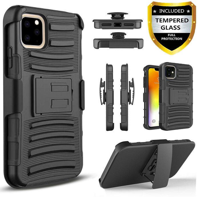 For iPhone 11 / Pro Max Case, Belt Clip Cover + Tempered Glass Screen Protector