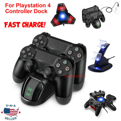 For PS4 PlayStation4 Controller Dual USB Charger LED Dock Station Charging Stand