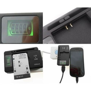 LCD Indicator Screen Universal Battery Charger For Cell Mobile Phones + USB-Port