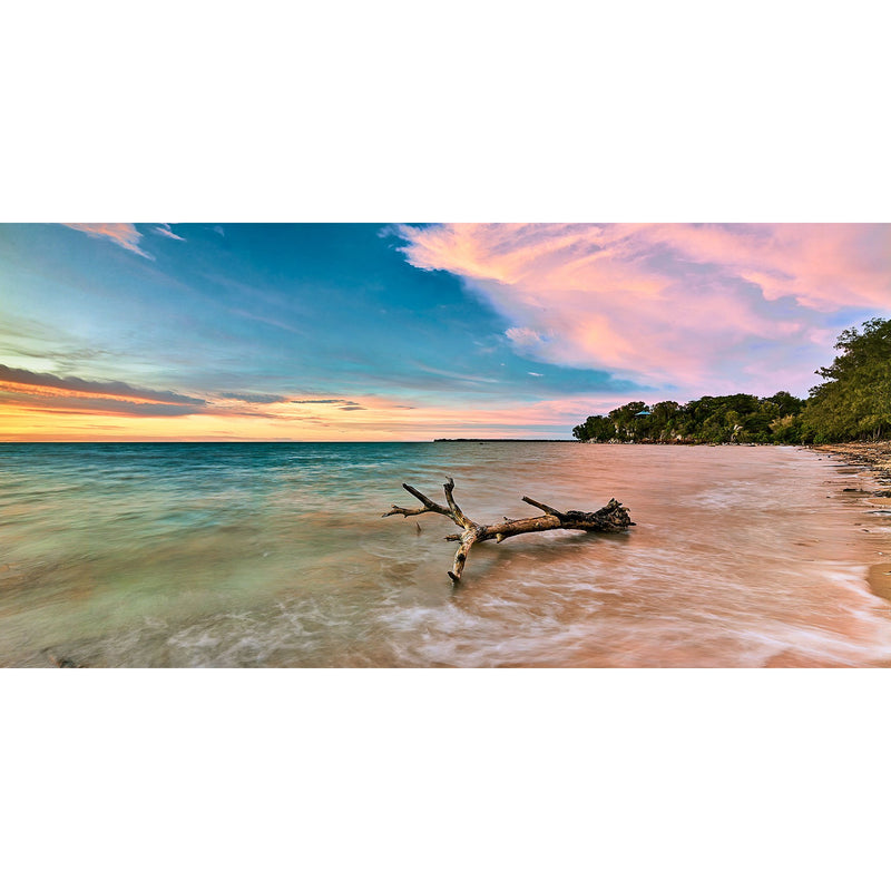 Pastel sunset over driftwood at Mindil Beach