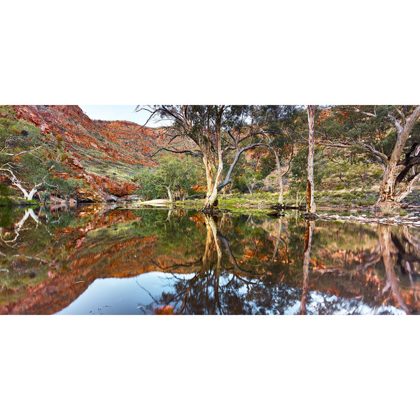 Reflections of red river gums onto the waters of Ormiston Gorge.